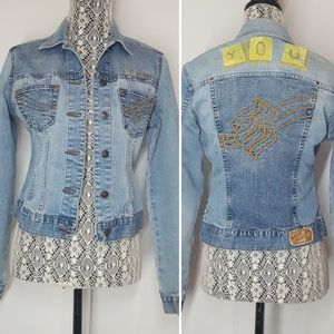 rocawear cropped embroidered jean jacket Medium